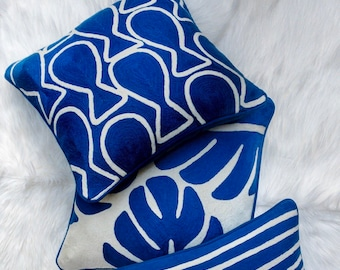 Swim Hand Embroidered Throw Pillow in Lapis Blue