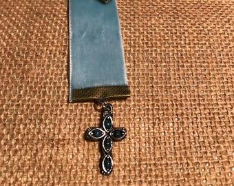 Velvet ribbon cross bookmark