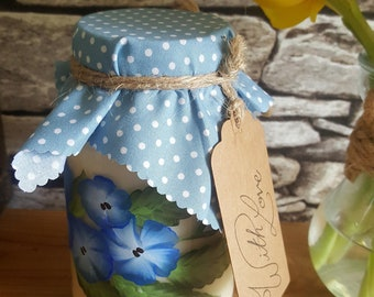 Hand painted 100% natural jar candle