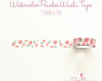 Watercolor Peaches Washi Tape - Fruit Planner Tape - Bullet Journal Accessories - Masking Tape - 15 mm x 7 m - Sample or Full Roll