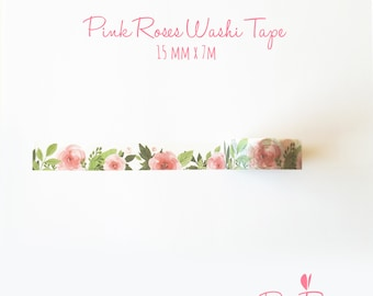 Pink Roses Washi Tape - Flower Planner Tape - Bullet Journal Accessories - Masking Tape - 15 mm x 7 m - Sample or Full Roll