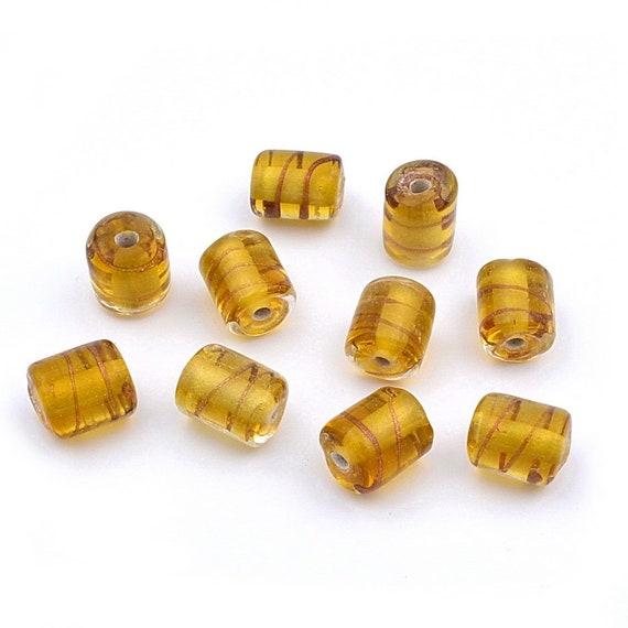 20 cylindrical glass beads 13mmx10mm mustard yellow