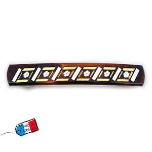 Rougecaramel 4 Small bars classic hair rectangular shape Made in France 5.4cmx0.9cm brown
