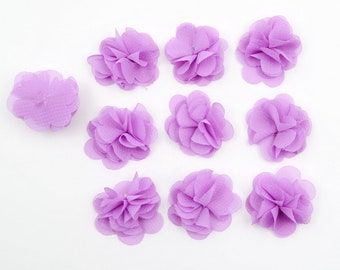 Set of 10 small flowers in purple voile fabric