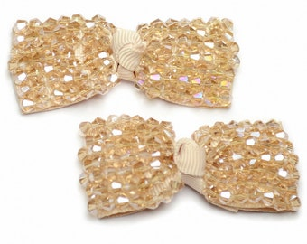 Lot 2 satin bows embroidered pearls toupilles 6.5x2.5cm beige