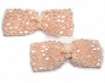 Set of 2 satin bows embroidered pearls toupilles 6.5x2.5cm powder pink