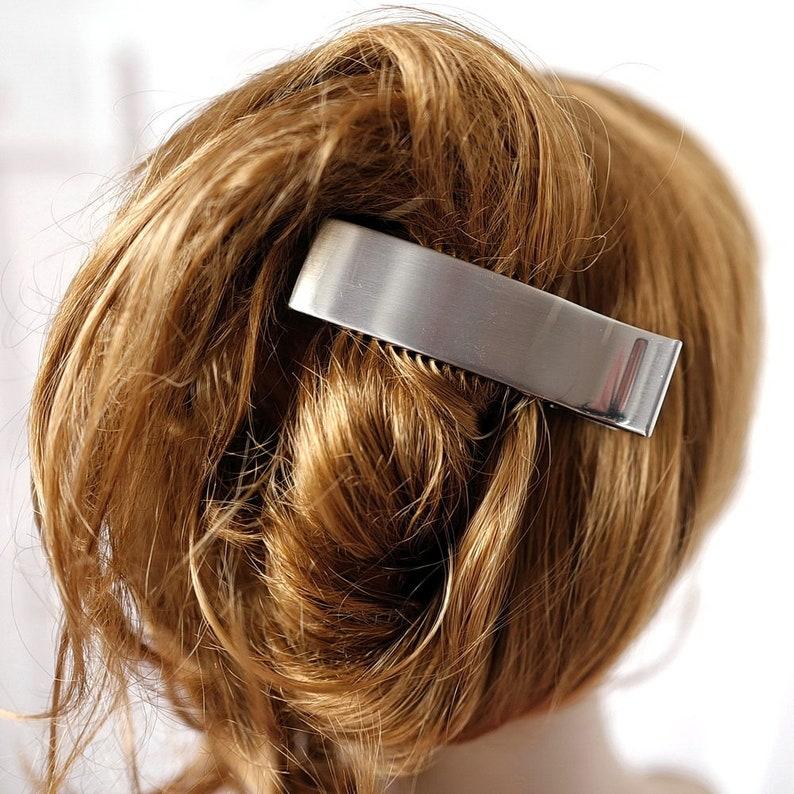 Brushed metal hair pinch 8.5cm