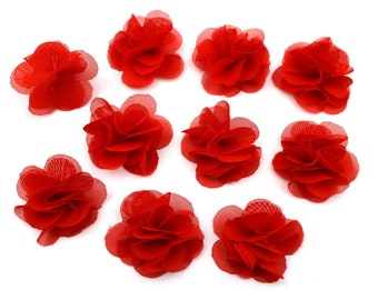 Set of 10 small flowers in red voile fabric