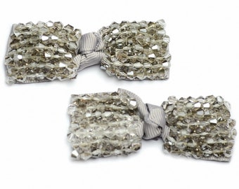 Set of 2 satin bows embroidered pearls toupilles 6.5x2.5cm grey