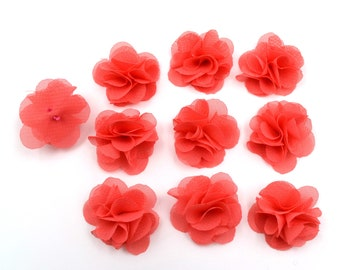 Set of 10 small flowers in coral voile fabric