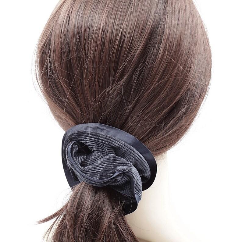 navy Chouchou elastic corduroy hair with satin edge hair accessory