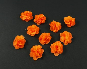 Set of 10 small flowers in neon orange voile fabric