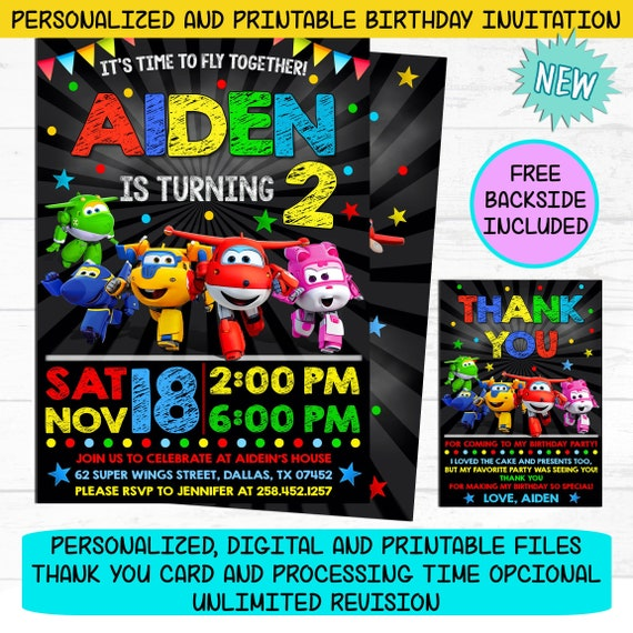 Super Wings Invitation Super Wings Birthday Party Invite Free Backside Personalized And Printable File I Customize You Print