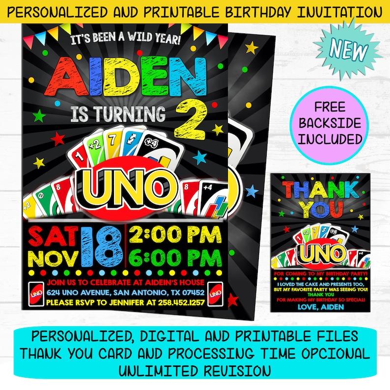 UNO Invitation Uno Card Game Birthday Party Invite Free