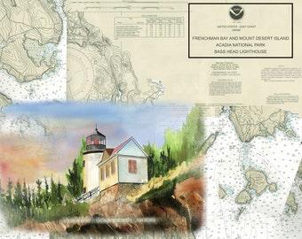 Bass Head Lighthouse on a NOAA nautical chart, Acadia National park, Bar Harbor Maine