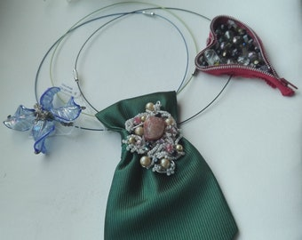 Choker-Necklaces made with recycled materials (single pieces)-Necklaces handmade with recycled materials (original piece)