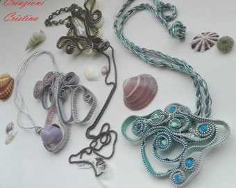 Zipper fantasies-Necklaces with beads made from hinges (single pieces)-Necklace handmade with recycled material (original piece)