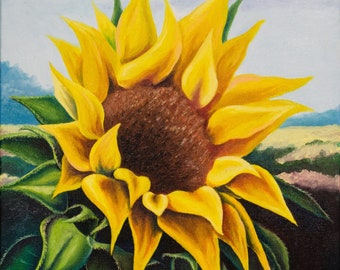 Oil painting, sunflower.