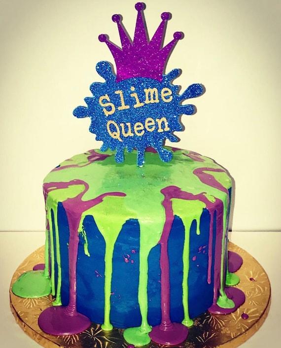 Groovy Slime Paint Splatter Cake Topper Etsy Personalised Birthday Cards Sponlily Jamesorg