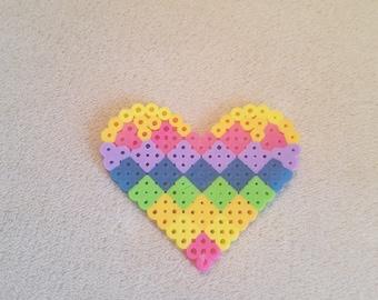 Perler Bead Rainbow Heart