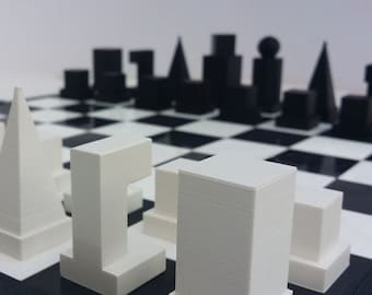 Chess Set Bauhaus Model 1 1922 Minimalist Chess Set with Compact 4 Piece Board