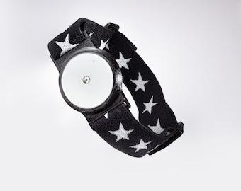 Freestyle Libre Sensor Armband for Protecting your Freestyle Libre Sensor White/Black Holder With Super Soft Star Band