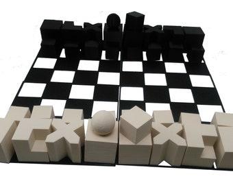 Chess Set Bauhaus Model 1924 Minimalist Chess Set with Compact 4 Piece Board