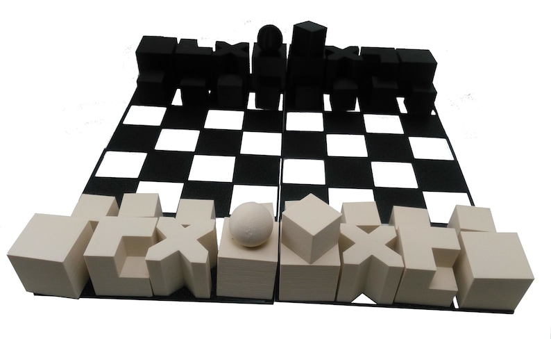 Chess Set Bauhaus Model 1924 Minimalist Chess Set with Compact image 0