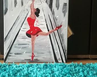 Ballerina in Paris, Handpainted, hand painted, gift