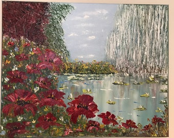 OIL PAINTING ''LAKE at summer day''