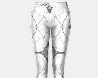 White Marble Print Yoga Leggings Womens Leggings Workout Leggings Skinny Pants Hippie Clothes Print Leggings Yoga Outfit High Waisted YG1087