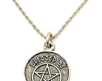 Blessed Be with pentacle with heart initial Stainless Steel rope necklace