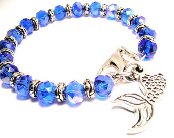 Mermaid's tail  royal blue crystals charm bracelet