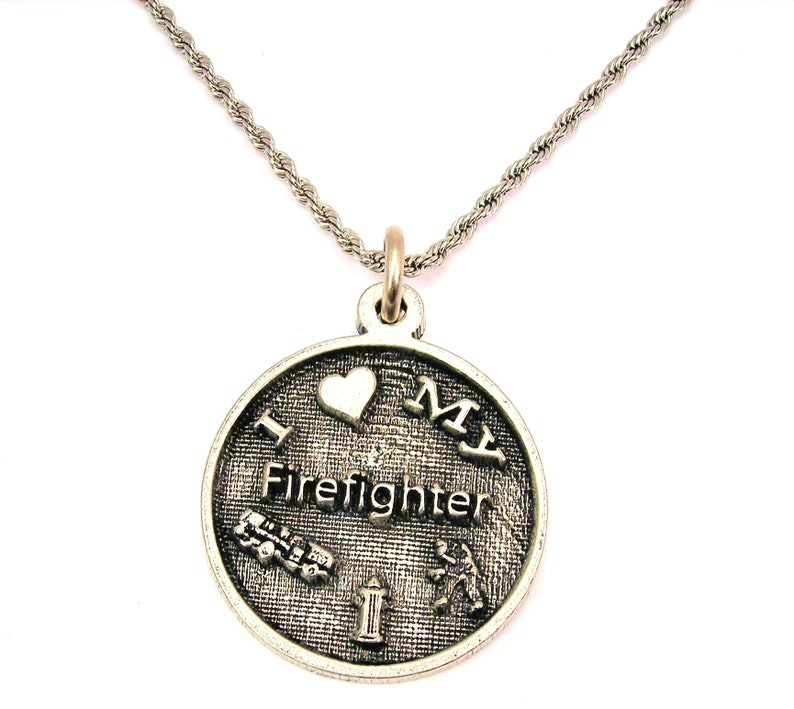 I love my firefighter Stainless Steel rope necklace