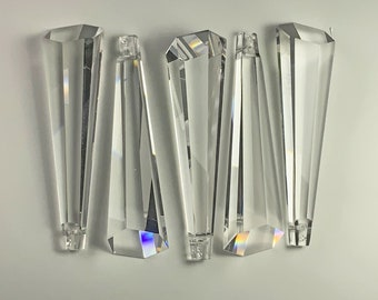 2.5 Inches Prisms Clear, 6-sided graduated, Prisms Wholesale - Asfour Crystal, Full Lead Crystal Suncatcher Crystal, #505, 1Hole - Set of 10