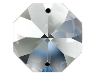 Set of 125 - Clear 14 mm Octagon Beads Full Lead- 2 Holes Made by Asfour #1080