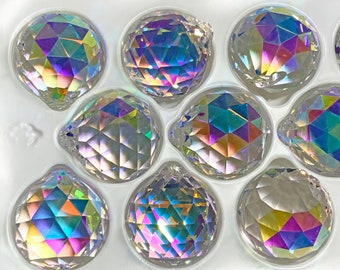 Set of 10 - 30 mm, Crystal, Clear AB, Crystal Ball, Asfour Crystal, Full Lead Crystal, Crystal Ball Prisms, 1 Hole #701