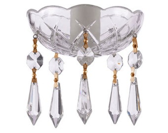 Clear, Crystal Bobeche 4 Inches with 1 Inch Center Hole - Five 1.5 inches Icicle Drop Included