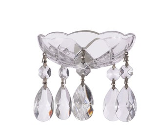 Clear, Crystal Bobeche 4 Inches with 1 Inch Center Hole - Bobeche Crystal - Five 1.5 inches Teardrop Included