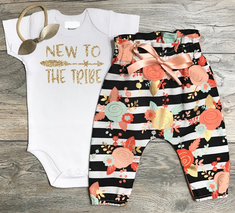 Black Striped Floral Pants New To The Tribe Newborn Outfit Baby Girl Gold Glitter Bodysuit Coming Home  Take Home Bow  Headband