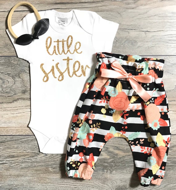 Black Striped Floral Pants Newborn  Siblings Top  Outfit Girls Newborn  Coming Home Outfit Little Sister Gold Bodysuit Black Bow