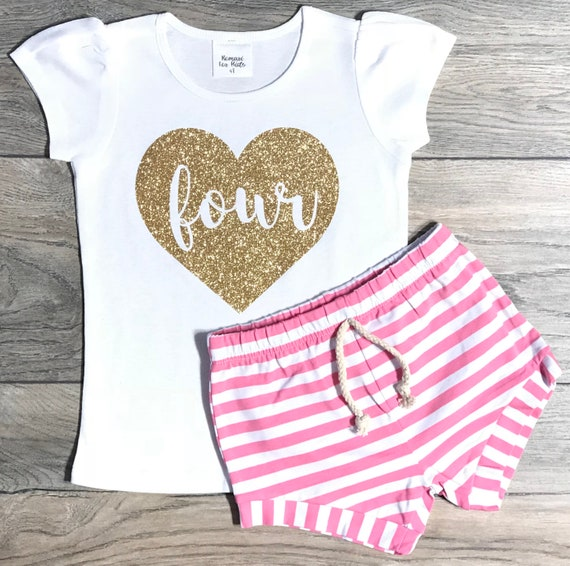 Puff Sleeve Shirt Romari for Kids Dos in Heart Outfit Set Headband Baby Girl Clothes Pink Striped Shorts