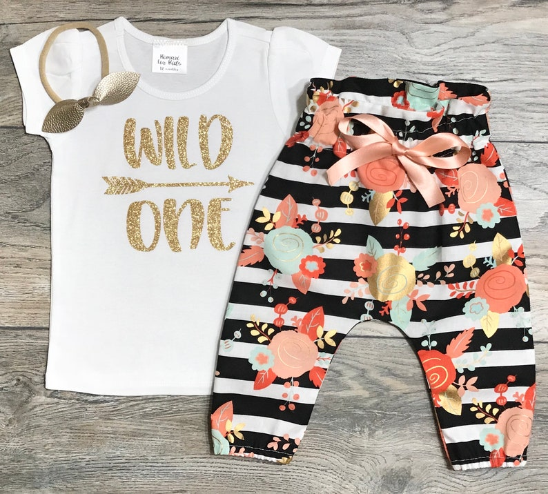 03ae15e0a Wild One 1st Birthday Outfit Gold Glitter Short Puff Sleeve | Etsy