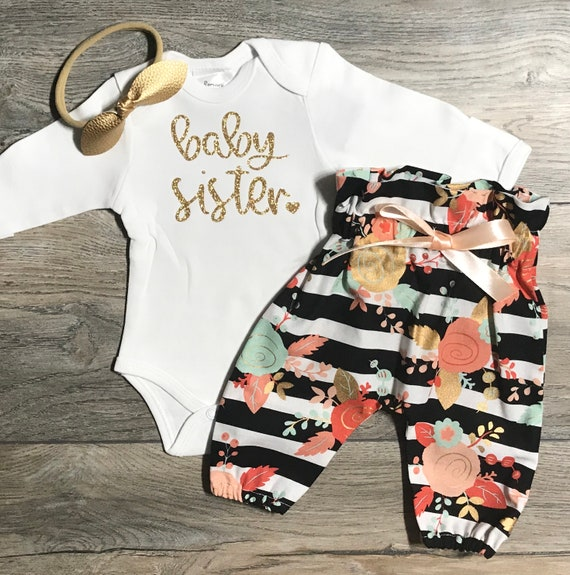 Photo Shoot High Waist Teepee Pants Newborn Coming Home Set Baby Girl Gold Glitter Little Sister Bodysuit Little Sister Outfit Bow
