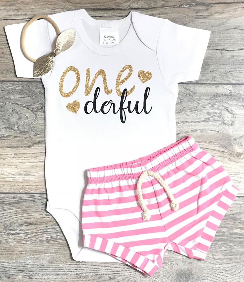 4bd4d4e82f157 First Birthday Outfit Baby Girl 1st Birthday One Derful | Etsy