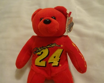 JEFF GORDON  24 NASCAR Avon Red Plush Beanie Bear 3ae34c82c48