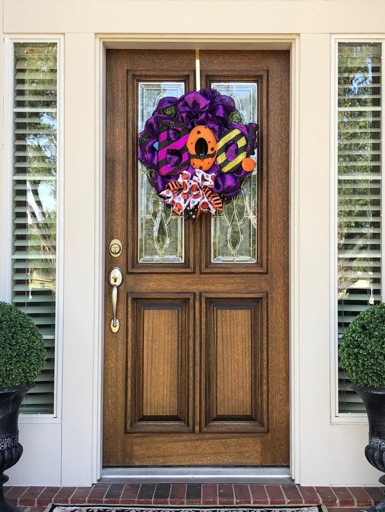 Free Shipping Halloween Boo Door Wreath Front Door Decor Halloween Wreaths Halloween Decor Deco Mesh Wreaths Halloween Wreath