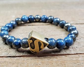 Fanart Men/'s gift ideas Sci-fi jewelry Marble Black Agate bracelet Movie themed cosplay gemstone stretch bracelets Men/'s jewelry