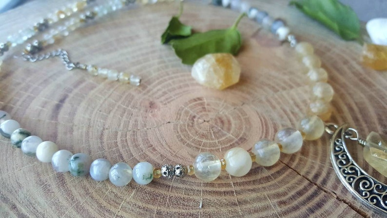 Hippie boho style Crescent moon gemstone necklace Citrine necklace Aquamarine jewelry Statement jewelry Gift for her Moss Agate