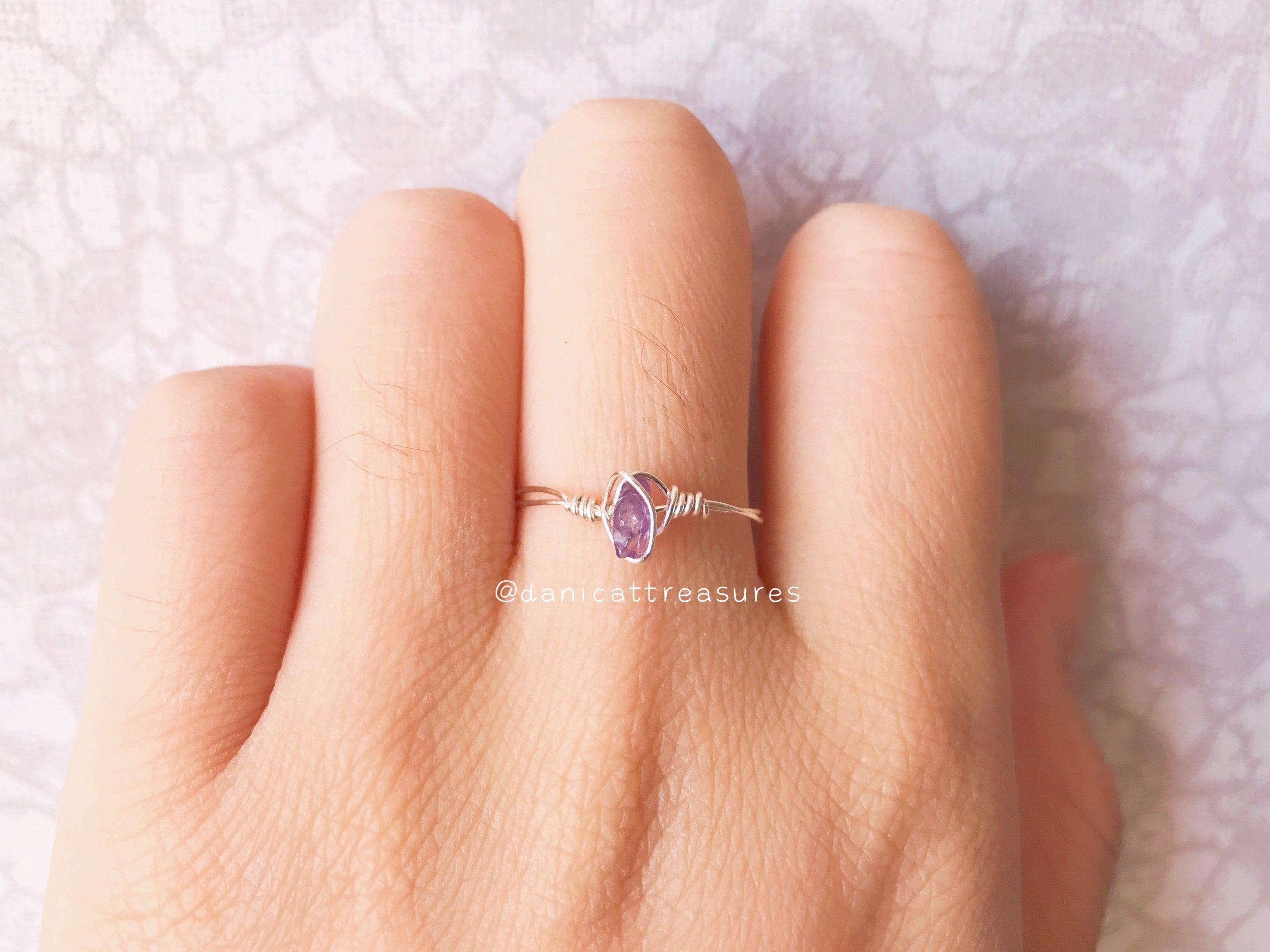 silver birthstone ring raw amethyst ring